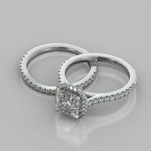 2pc platinum moissanite diamond ring set